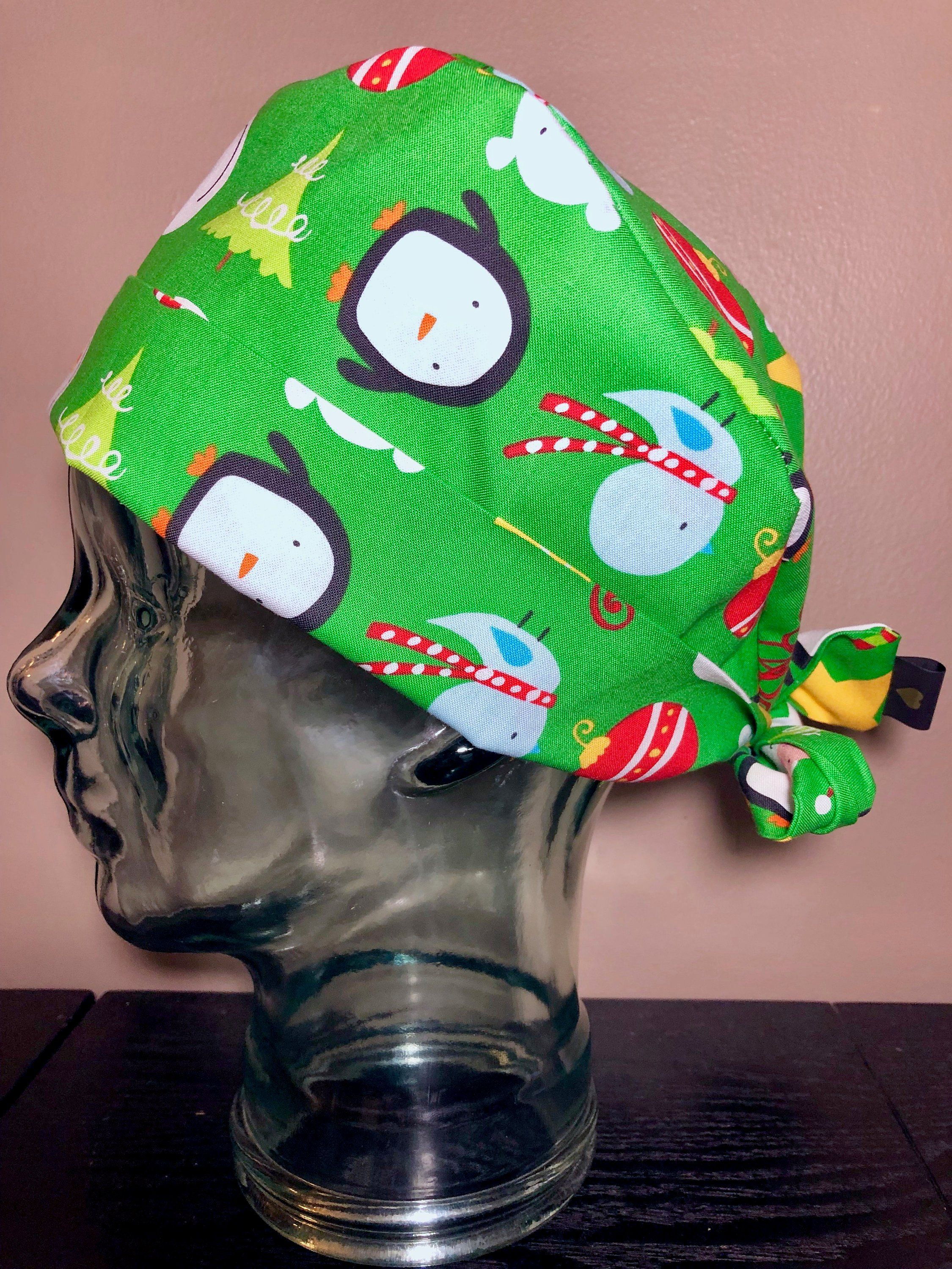 c1032b9ed2039 Christmas Characters on Green Surgical Scrub Hat