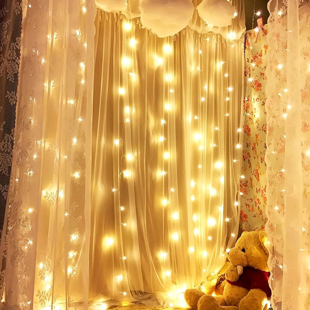 Holiday Curtain 600LEDs Linkable Warm White Pure Copper Window ...