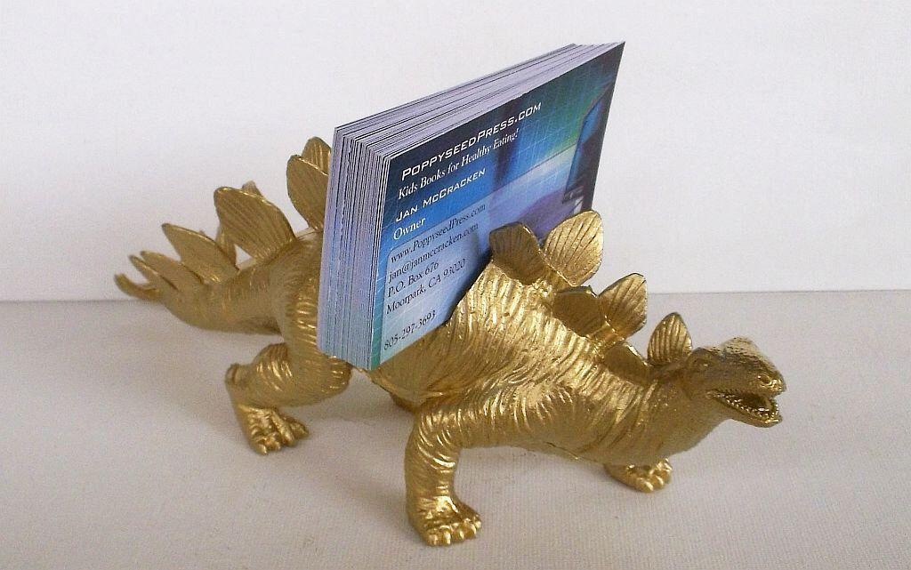 Business Card Holder. Gold Dinosaur Business Card Holder, Desk ...