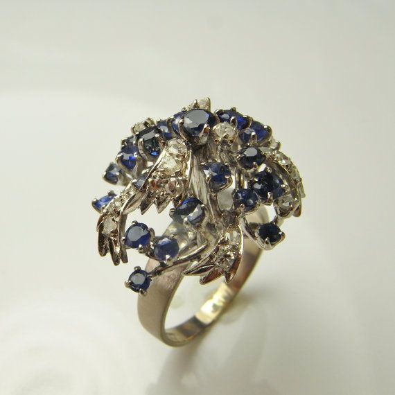 c43c090429ff6 Diamond Cluster Ring Blue Sapphire Ring 1950s Engagement Ring 1950s ...