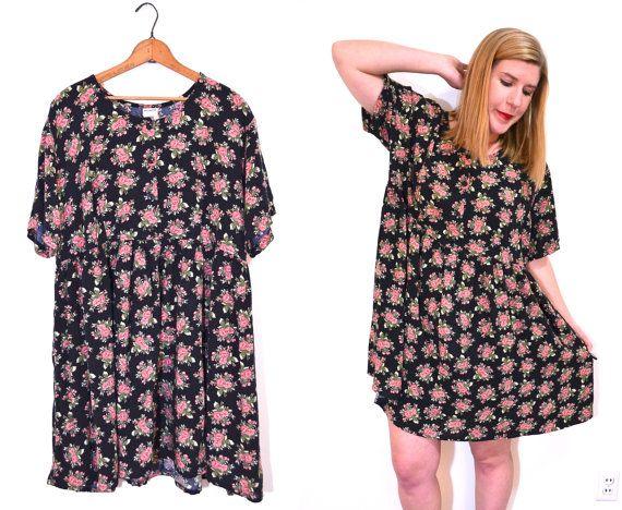 Black Floral Babydoll Dress Plus Size Dress by ...