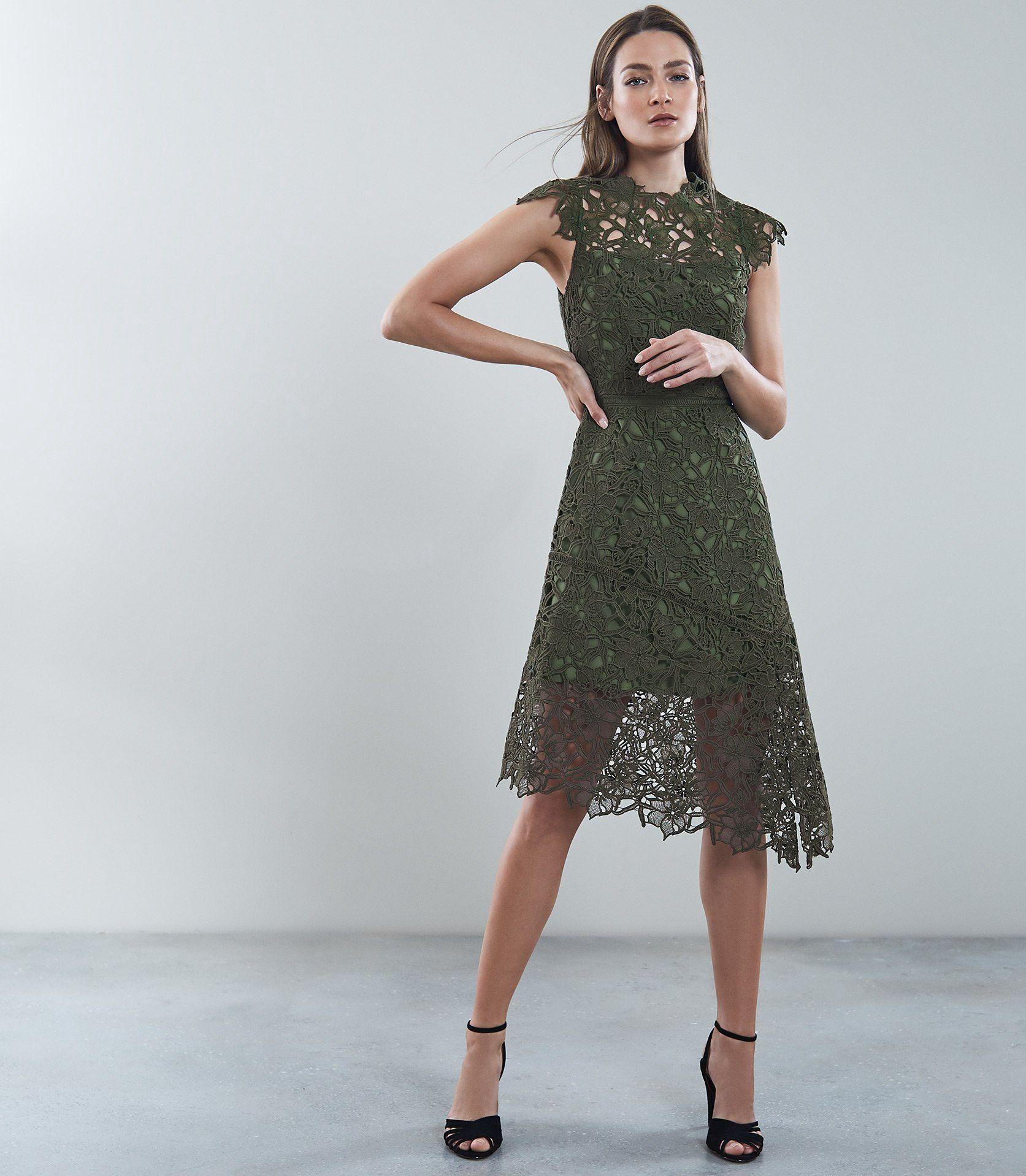 Ivana - Lace Asymmetric Hemline Dress in Ivy, Womens, Size 10 Reiss