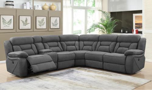 Camargue Grey Coated Microfiber Power Reclining Sectional Sofa 600370 Sectional Sofa With Recliner Power Reclining Sectional Sofa Cheap Living Room Furniture