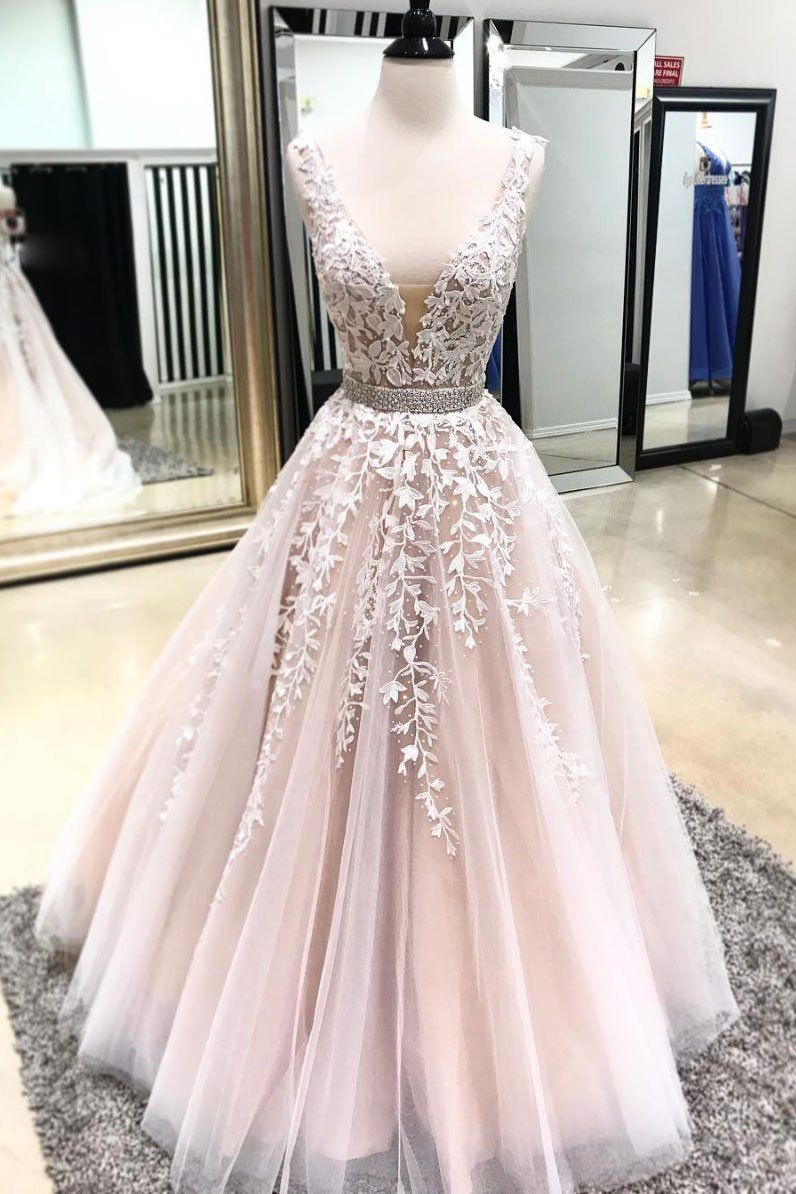 Light champagne v neck tulle lace long prom dress from Seven Grils ... 7350fdfbd
