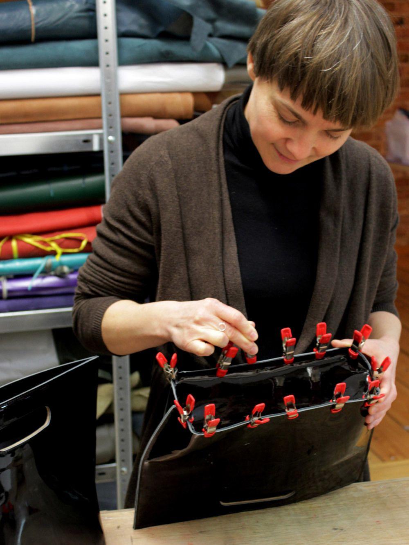 Ms. Anke Runge working on her bags | Anke Runge Berlin