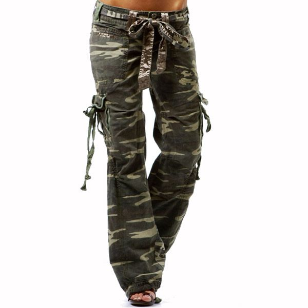 sophisticated technologies discount shop rock-bottom price Camouflage Women Military Cotton Belted Cargo Pants ...