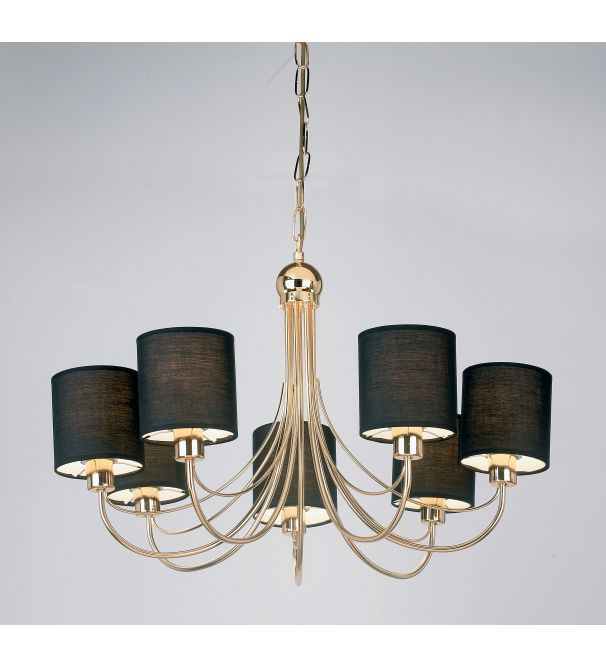 Endon Lighting Figaro 7 Light Ceiling Fitting In Gold Finish With Black Fabric Shades - Endon Lighting from Castlegate Lights UK  sc 1 st  Pinterest & Pin by Amy Casady on Home of wonders | Pinterest | Black fabric ... azcodes.com