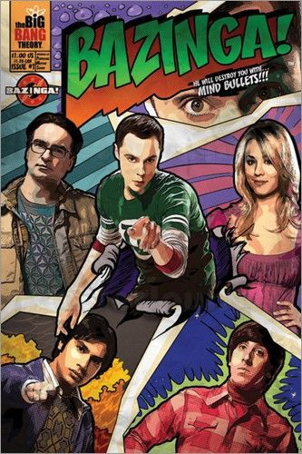 the big bang theory comic bazinga poster g nstig bestellen design wall vienna apartment. Black Bedroom Furniture Sets. Home Design Ideas
