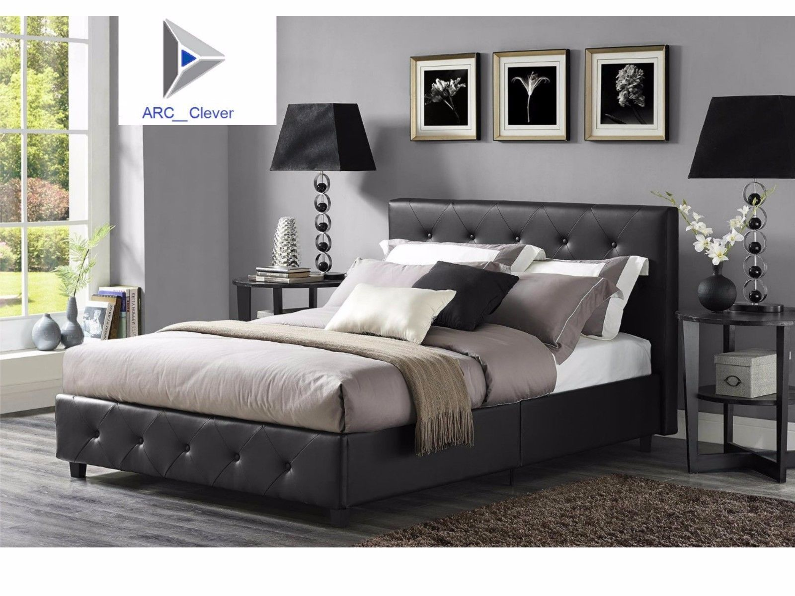 Upholstered bed with a. Faux leather upholstered side