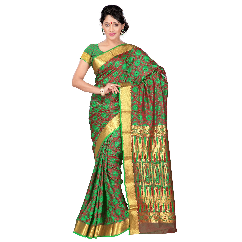 Kanchipuram Nandani Art Silk Rich Zari Pallu Emboss saree - http://member.bulkmart.in/product/kanchipuram-nandani-art-silk-rich-zari-pallu-emboss-saree-4/