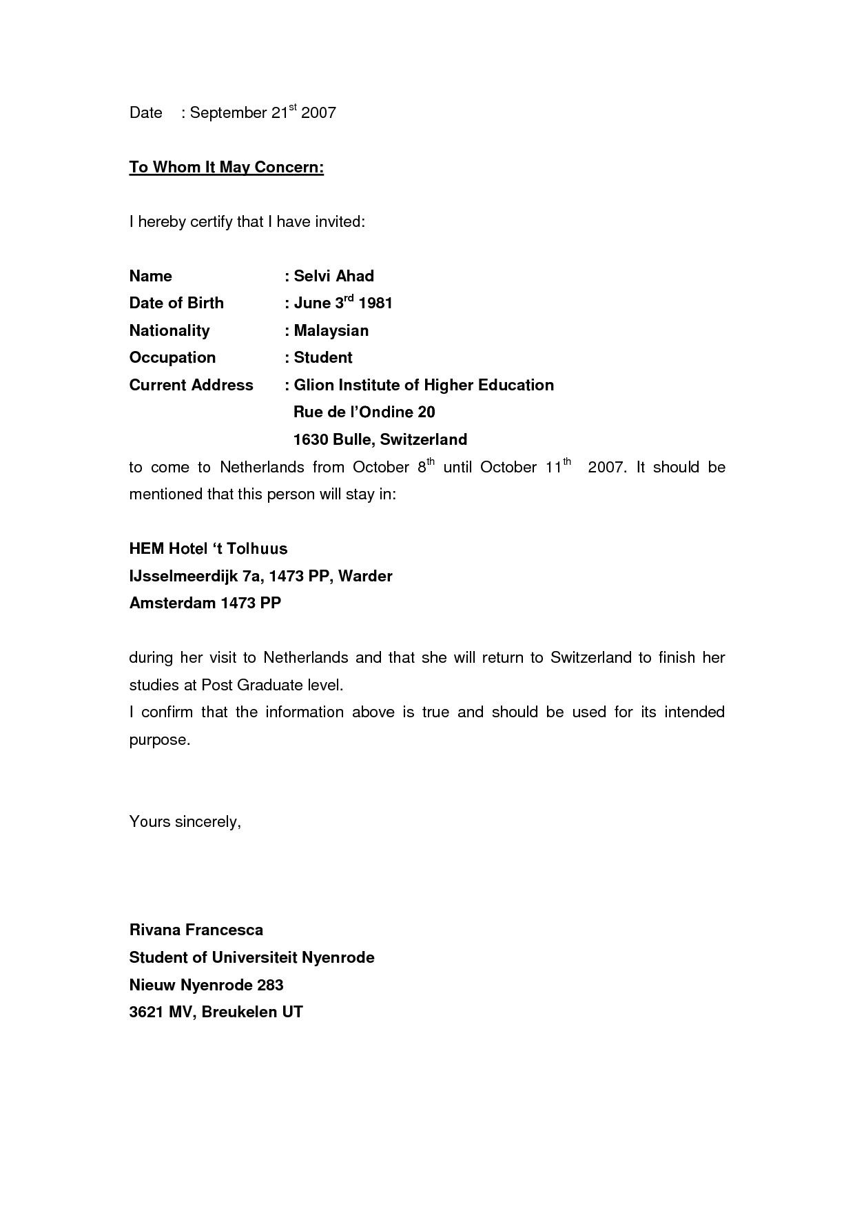 invitation letter format for schengen