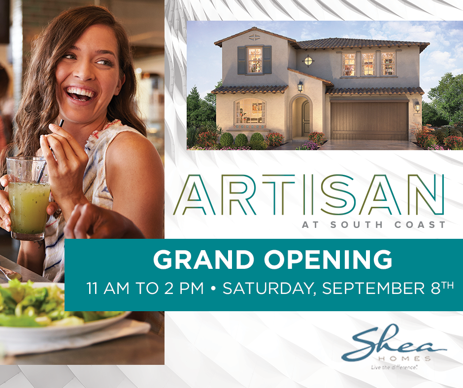 Save the Date for the Model Grand Opening at Artisan at South Coast on September 8th!
