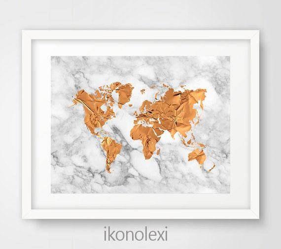 copper world map art print gold world map map world copper download