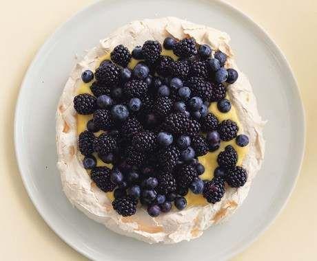 meringue, lemon curd, and berries - yum!