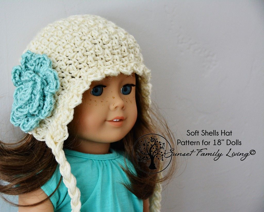 "Soft Shells Hat Pattern for 18"" Dolls"