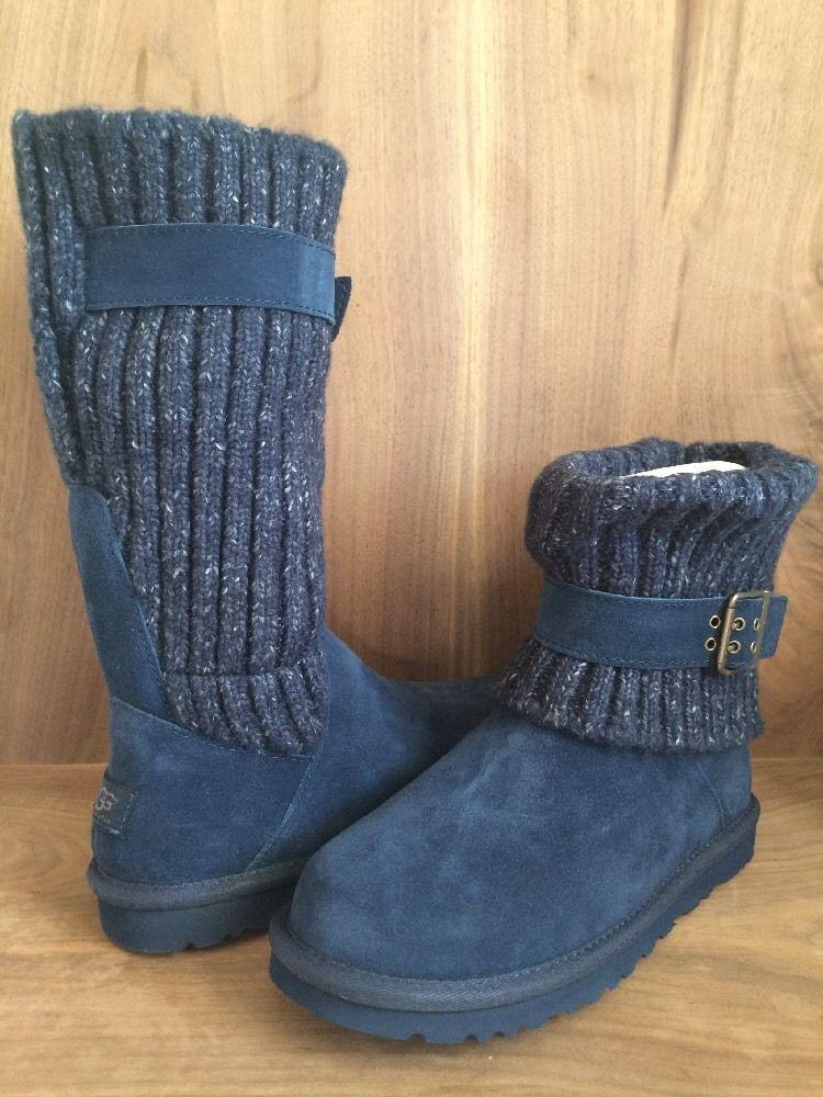 UGG Cambridge Knit NIB $169 Women's Navy Fold Over UGGpure Wool Lined Boots sz 6