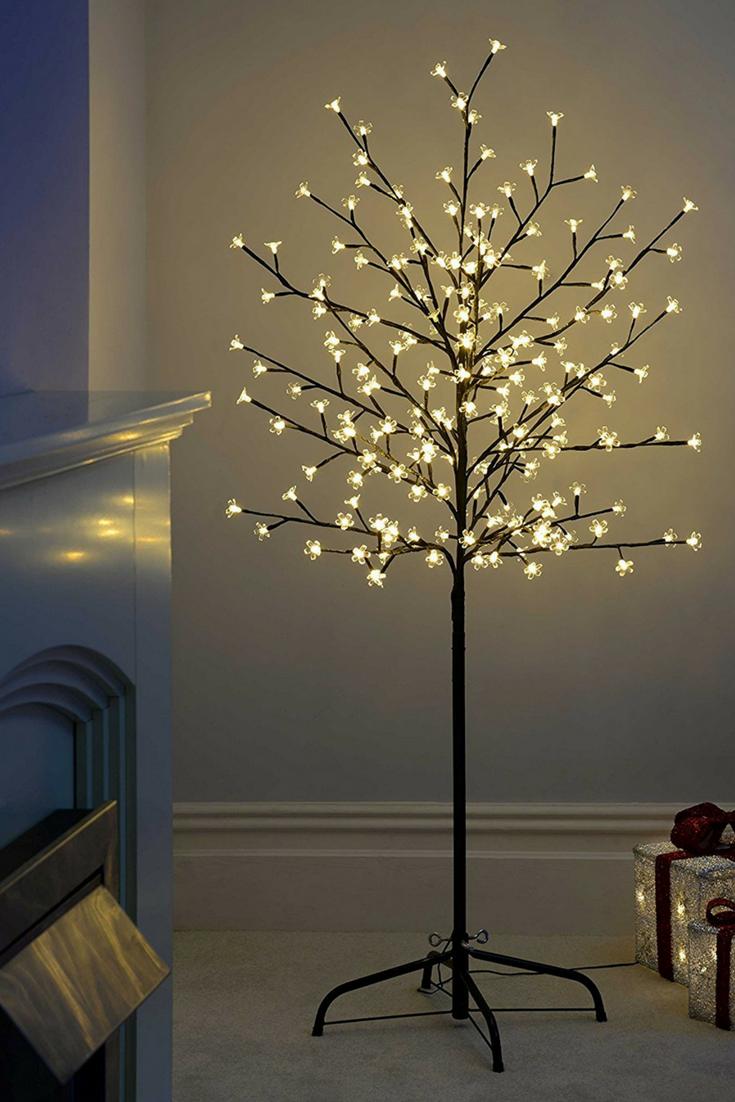 Werchristmas 5 Ft 1 5 M Pre Lit Illuminated Cherry Blossom Tree With 200 Led Warm Whi Led Lighting Diy Modern Glass Pendant Light Christmas Lights In Bedroom