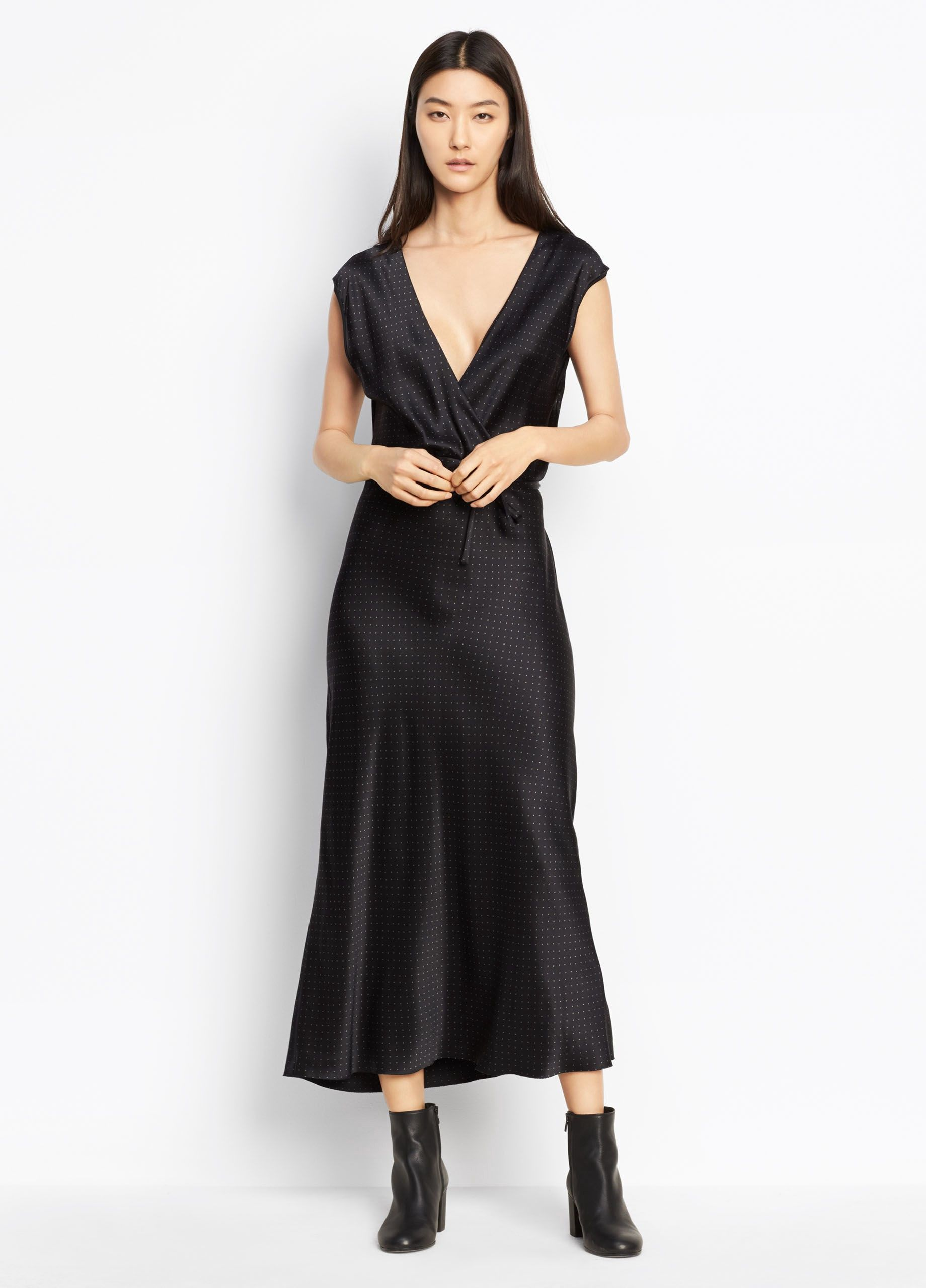 Vince Polka Dot Crossover Slip Dress Black Frog Vince Cloth Necklines For Dresses Long Dresses Casual Maxi Polka Dot Maxi Dresses [ 2560 x 1840 Pixel ]