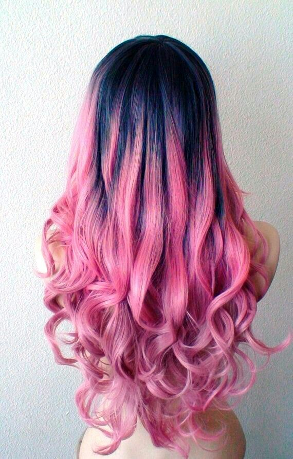 Blue Grey Roots Pink Ends Pink Ombre Hair Hair Styles Bold Hair Color