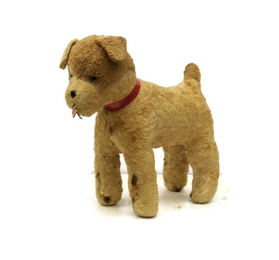 Stuffed Dog Toy Antique Stuffed Toy Wood Wool By Lebonheurdujour