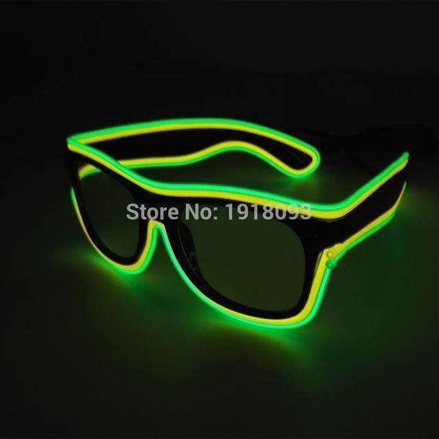 Fashion Flashing El Wire Glasses Light Up Glowing Halloween Party Rave Costume Men's Eyewear Frames