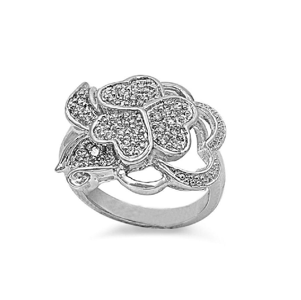 925 Sterling Silver CZ Designer Hearts Ring 13MM