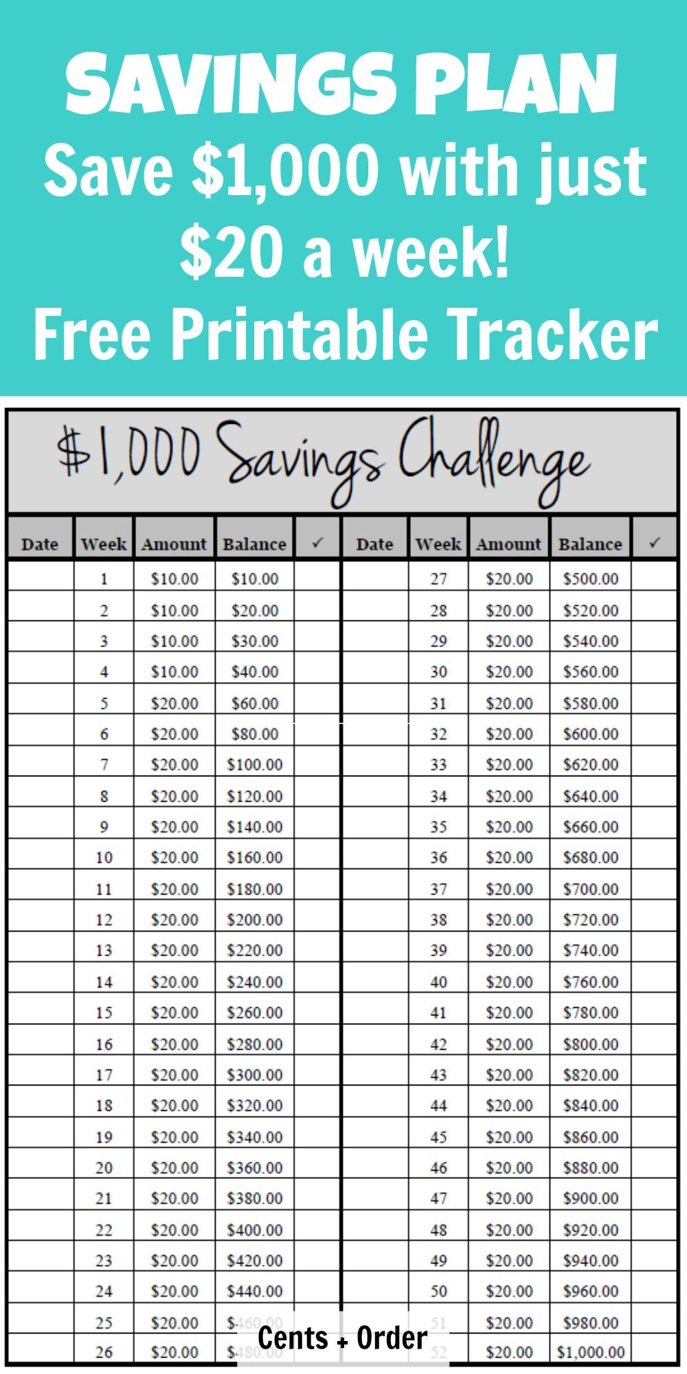 52 week 1000 savings plan build your emergency fund with this easy challenge of just 20 a week free printable tracker for your savings challenge