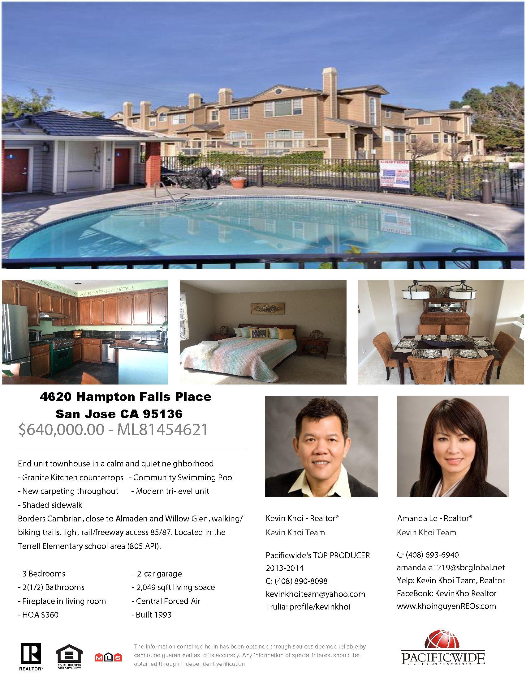 4260 Hampton Falls Place San Jose Ca 95136 Townhouse 640 000 Hampton Falls Community Pool Townhouse