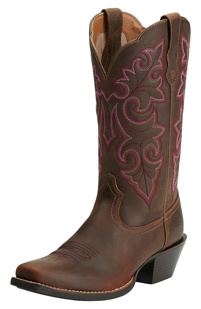 Ariat Womens Round Up Square Toe Cowboy Boots Powder
