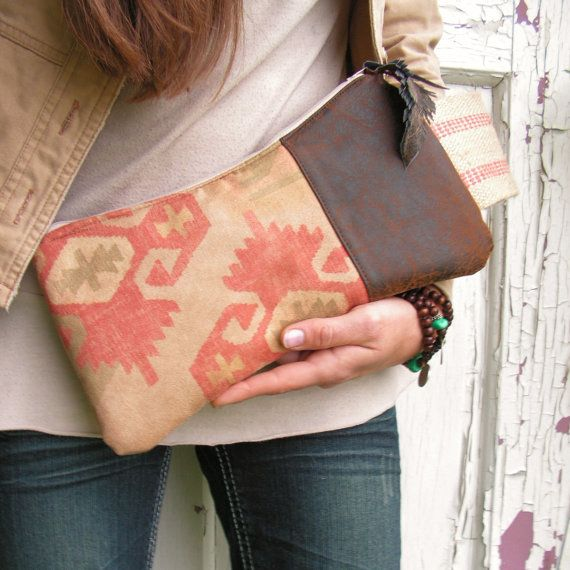 SqueezE Clutch Handbag in Earthy Navajo Microfiber and Vegan Leather