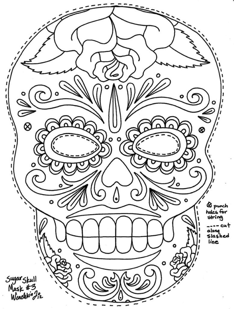 Coloring Rocks Skull Coloring Pages Day Of The Dead Mask Coloring Pages