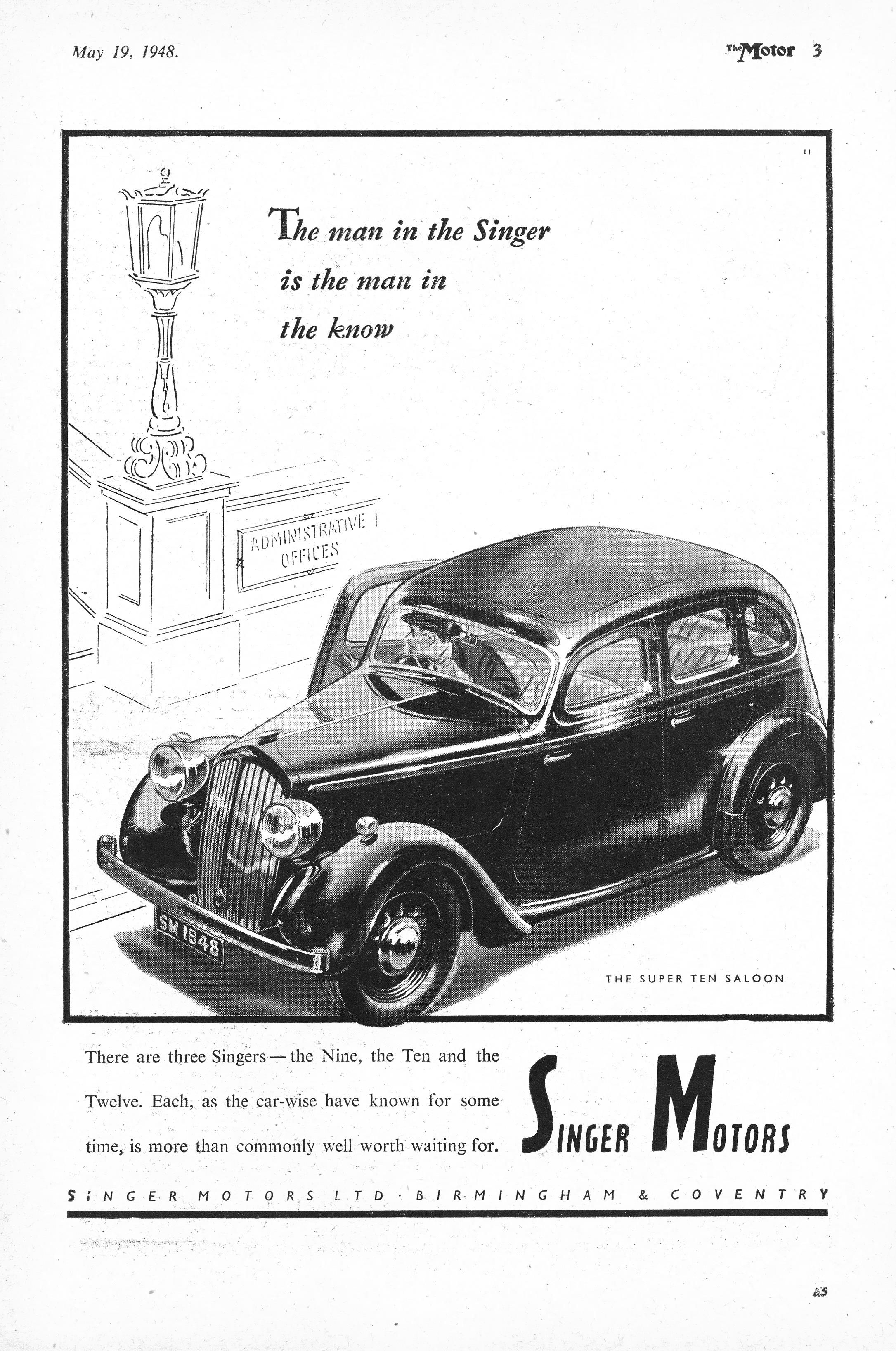 Singer Ten Motor Car Autocar Advert 1948 | Old Car Ads | Pinterest ...