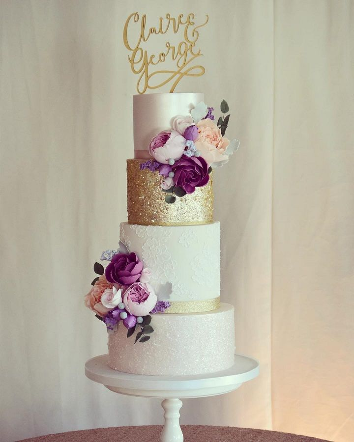 Beautiful Four Tier Blush Wedding Cake With Gold Accents Wedding