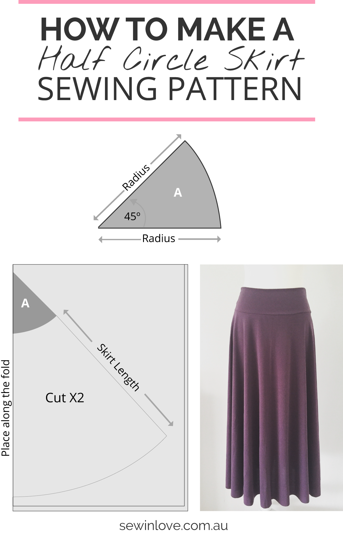 How to Make a Skirt in One Day: Easy Half Circle Skirt | Nähen ...