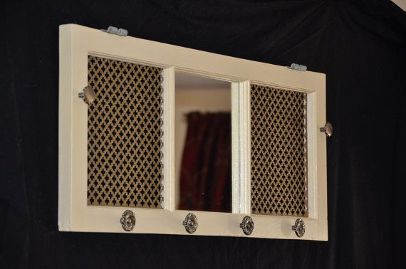 Handmade one of a kind window frame jewelry organizer and mirror