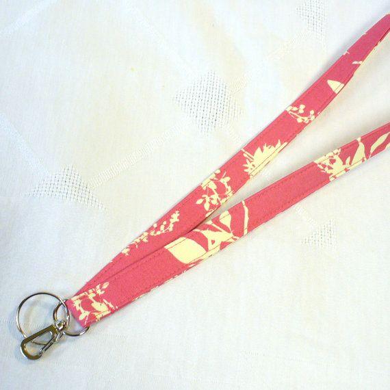 Badge Holder Fabric Lanyard Keychain Breakaway Lanyard Joel Dewberry ID Clip Key Ring Fob Hot Pink Wildflowers Handmade MTO