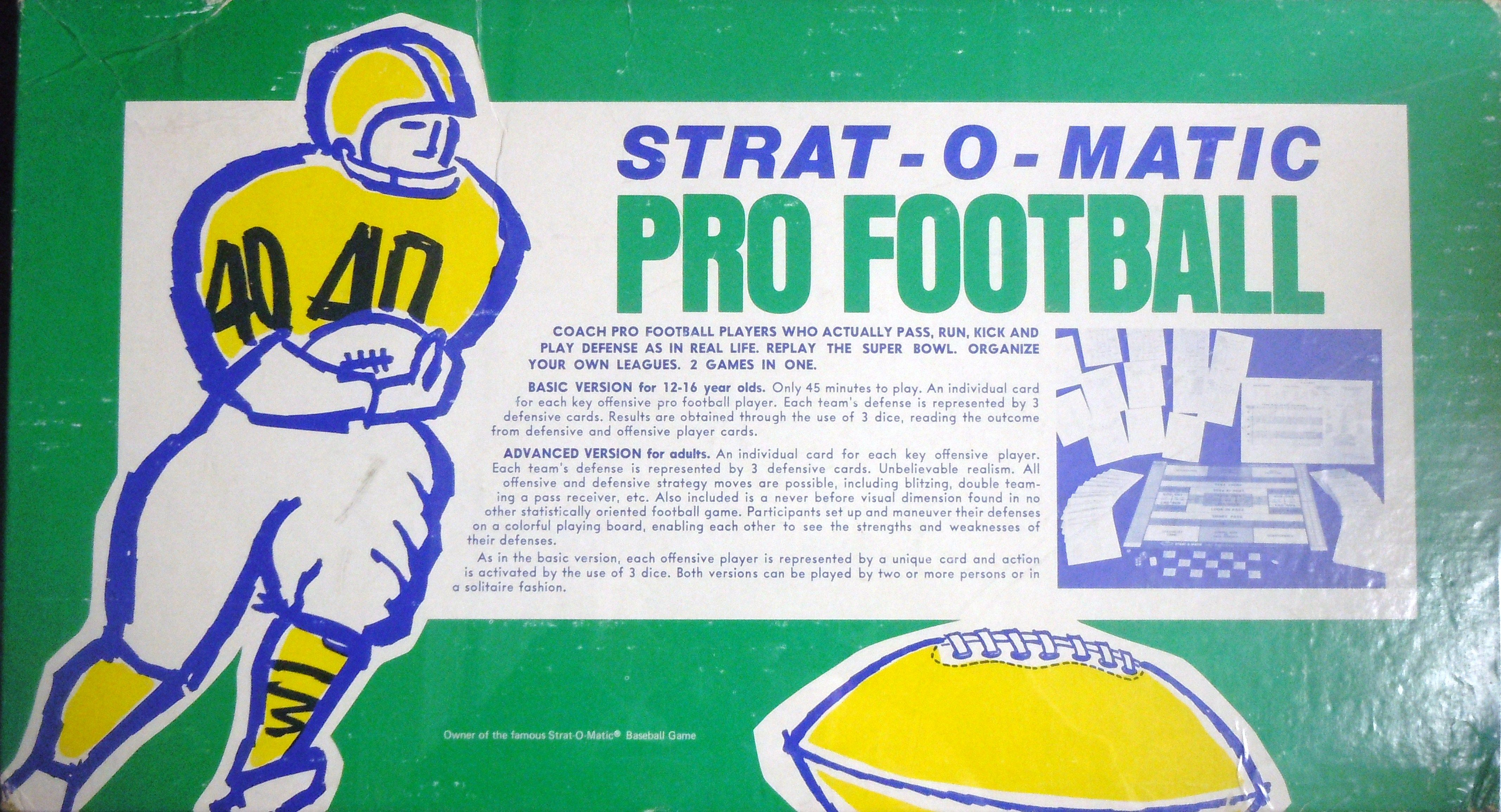Old StratOMatic Pro Football Game Box Games box