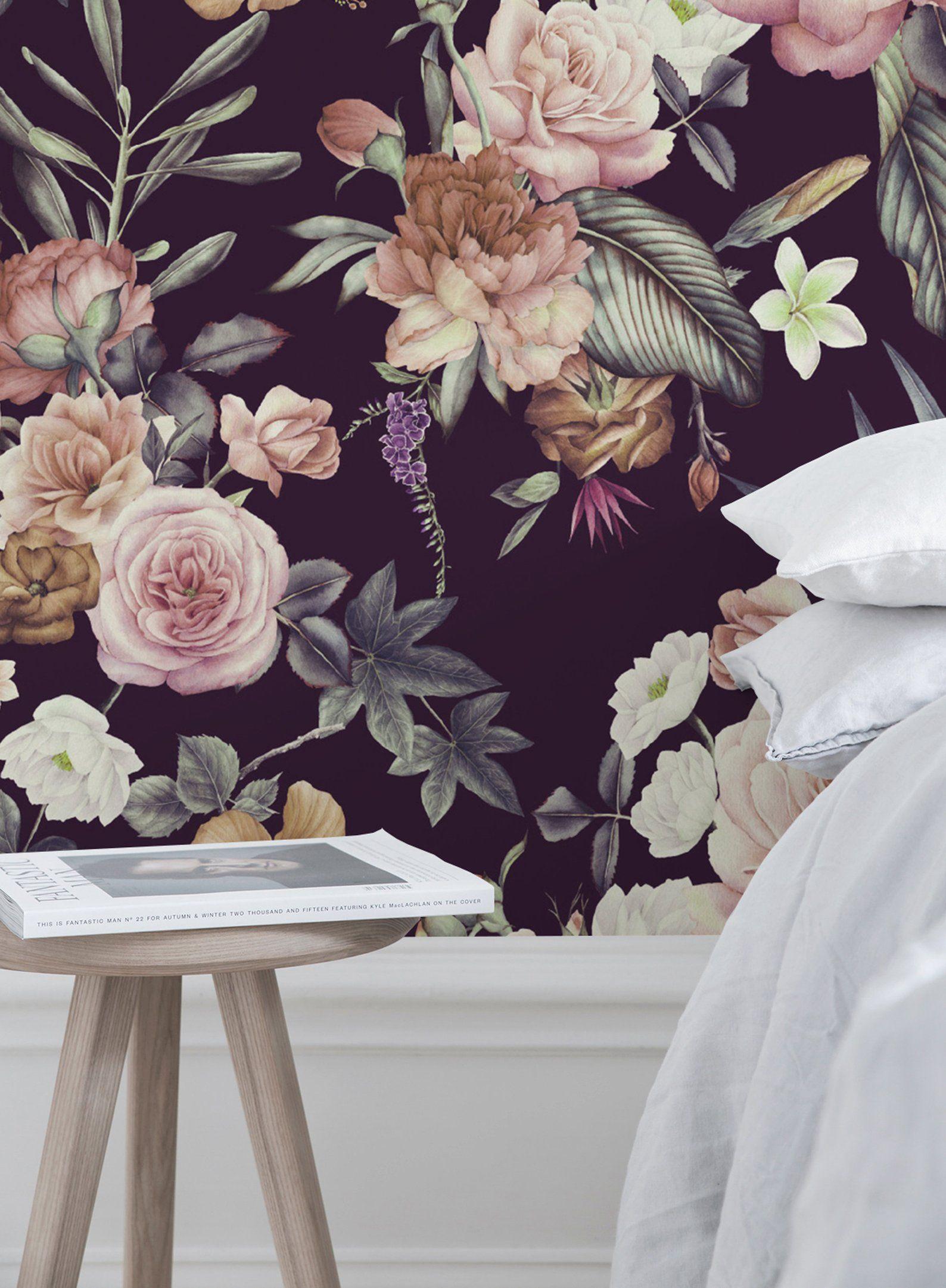 Dark Floral Peel And Stick Wallpaper Adhesive Wallpaper Floral