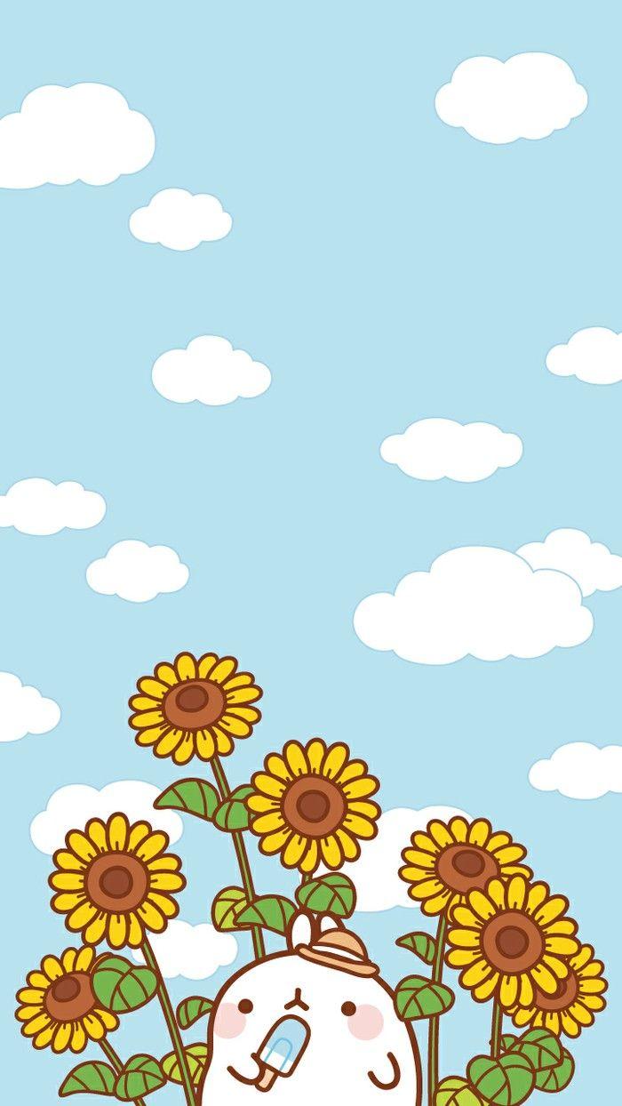 Sunflower #Molang   Molang wallpaper, Cute art, Kawaii ...
