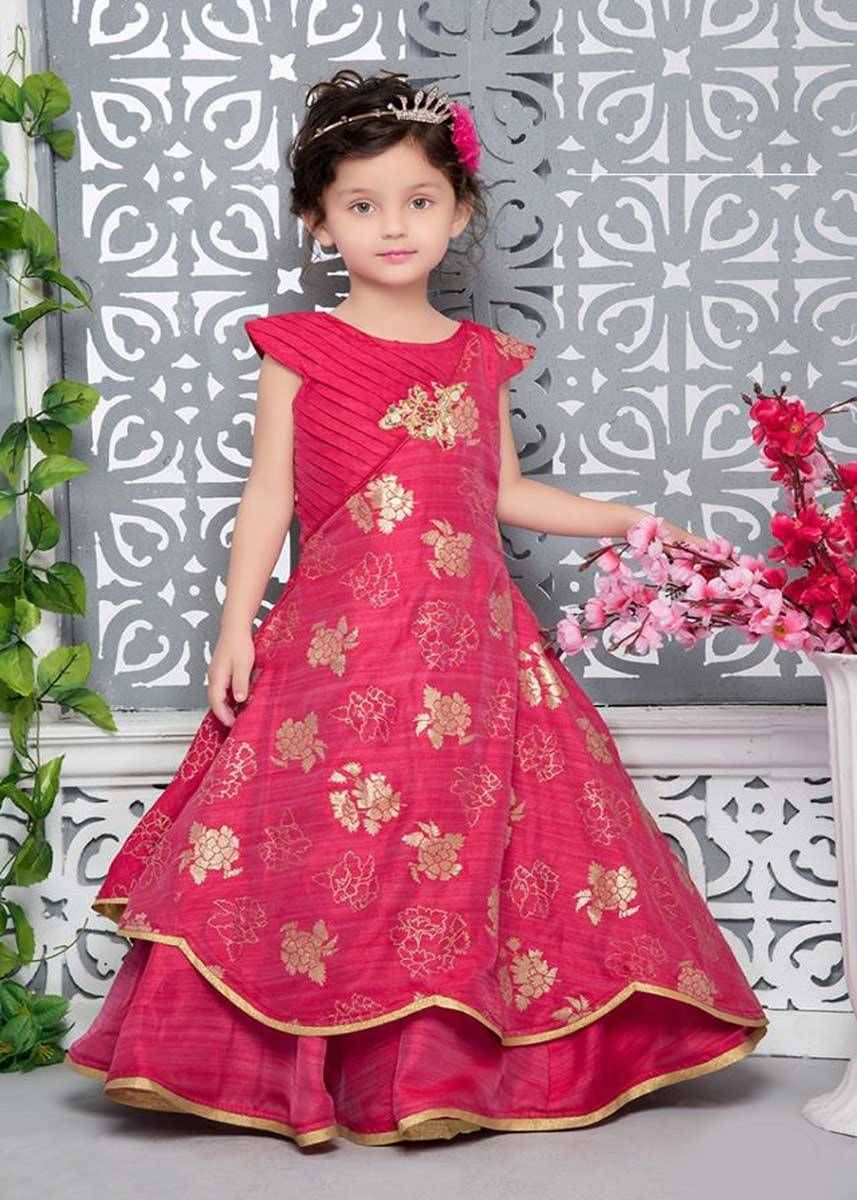 0ead907c55 Give your daughter princess look with this Cherry Red Thai Silk Wedding  Wear Kids Gown. This gown fabric is thai silk. Comes along with a cherry  red color ...