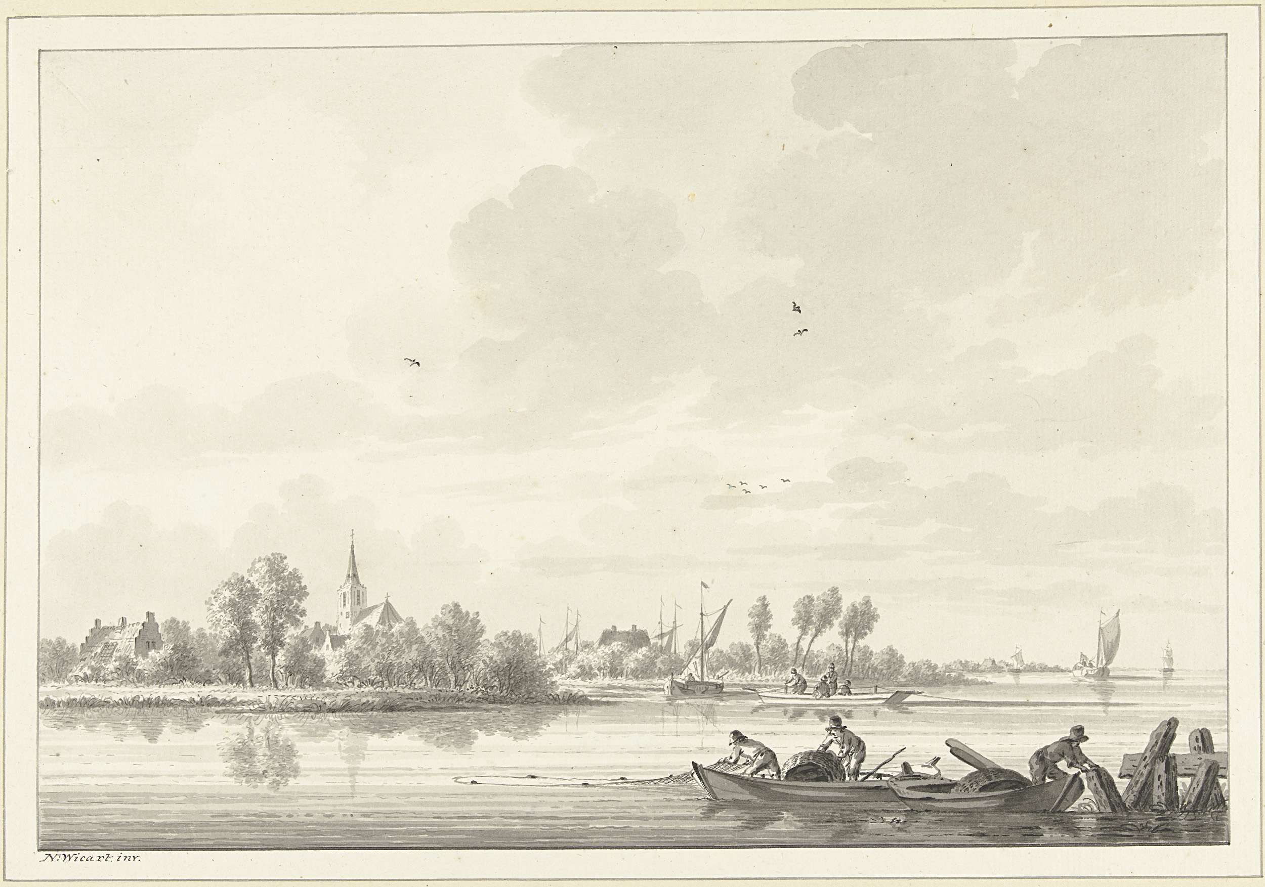 Nicolaas Wicart   Vissers op de Lek bij het dorp Tuil, Nicolaas Wicart, 1758 - 1815  