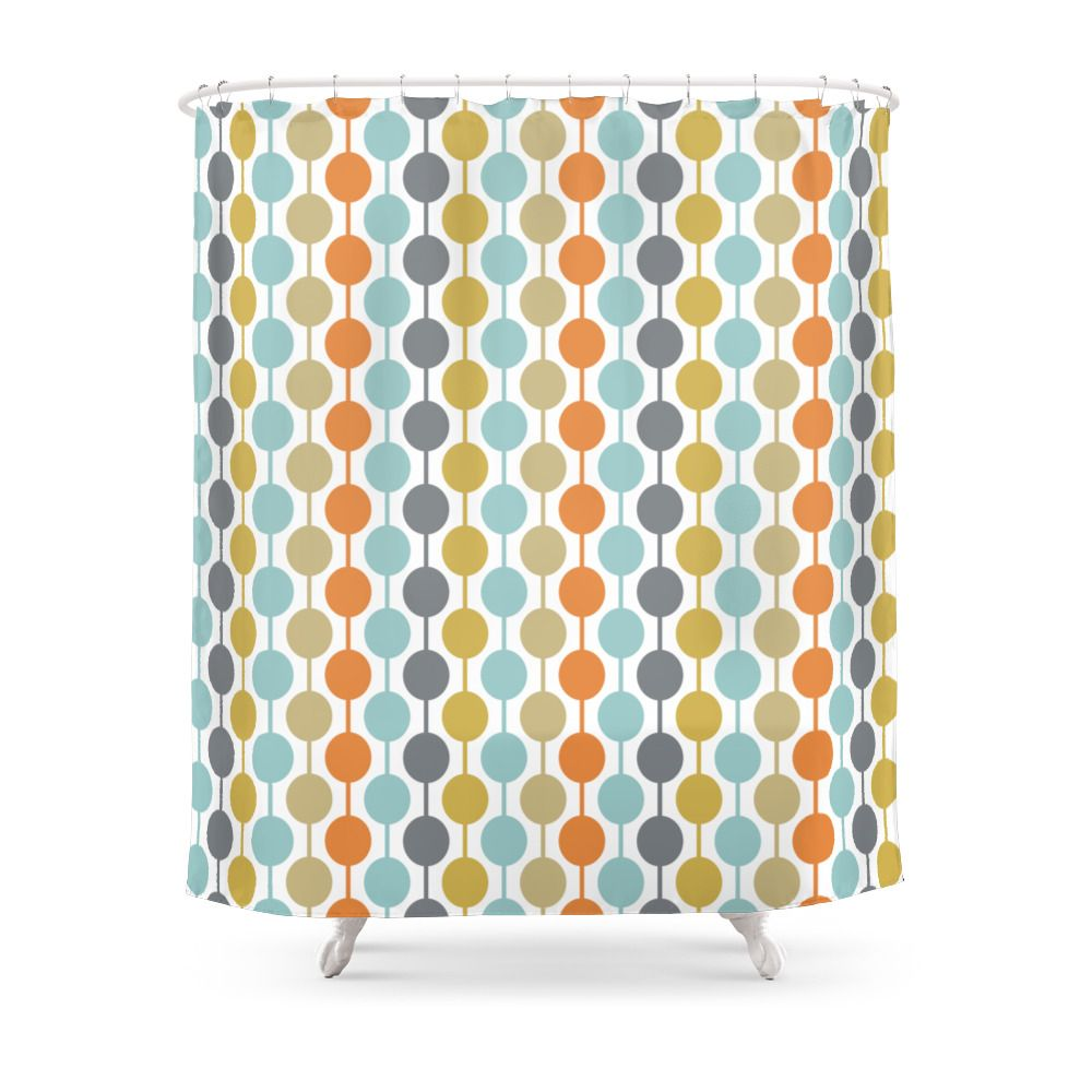 Retro Circles Mid Century Modern Background Shower Curtain By