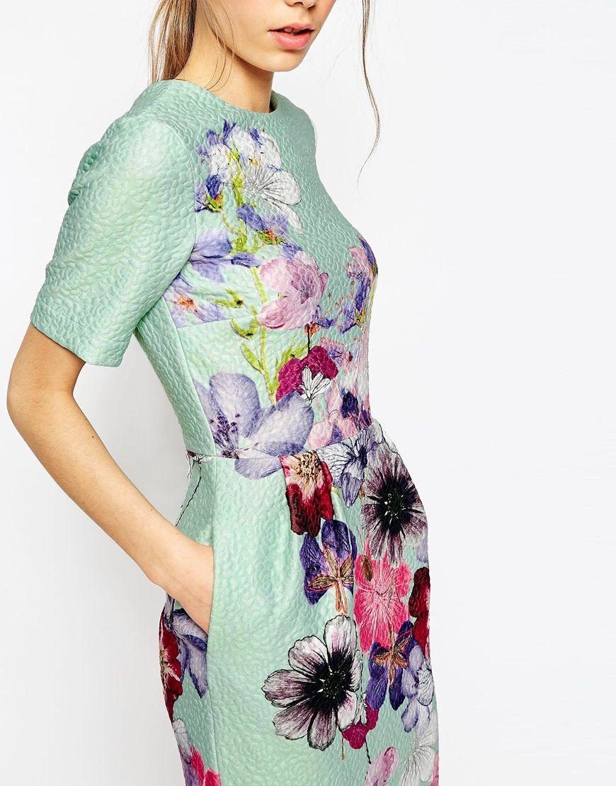 Immagine 3 di ASOS PETITE - Vestito ad anfora in tessuto operato a fiori