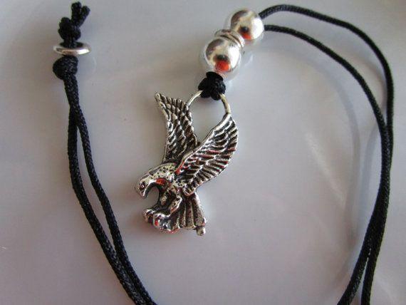 Silver tone eagle pendant on black cord eagle by LeeliaDesigns
