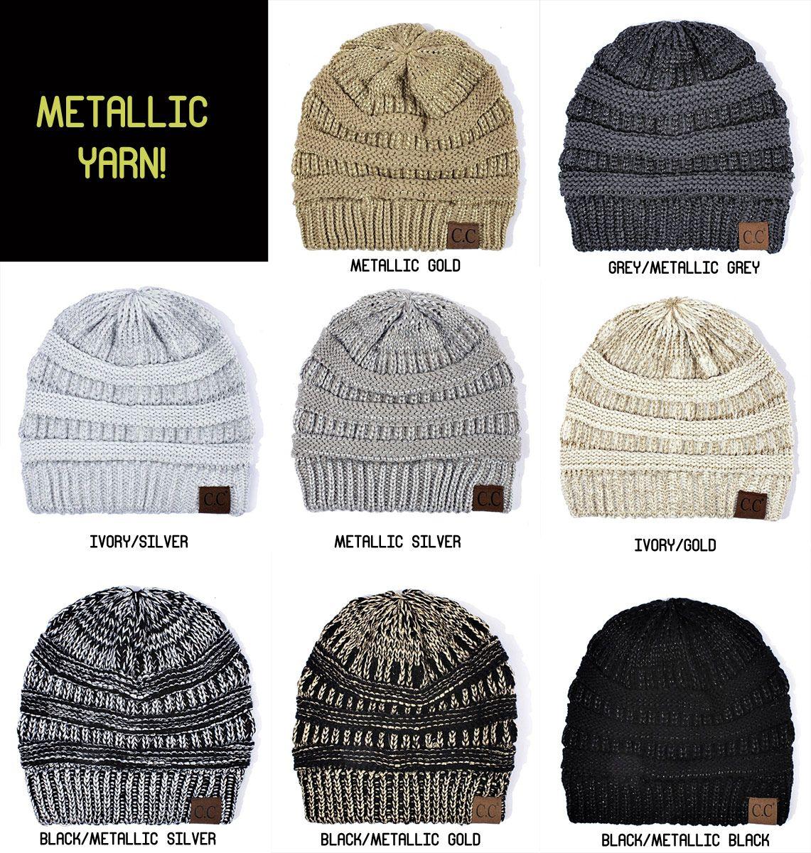 9ee6300183e3b Metallic Yarn Knit CC Beanie Hat inset 3