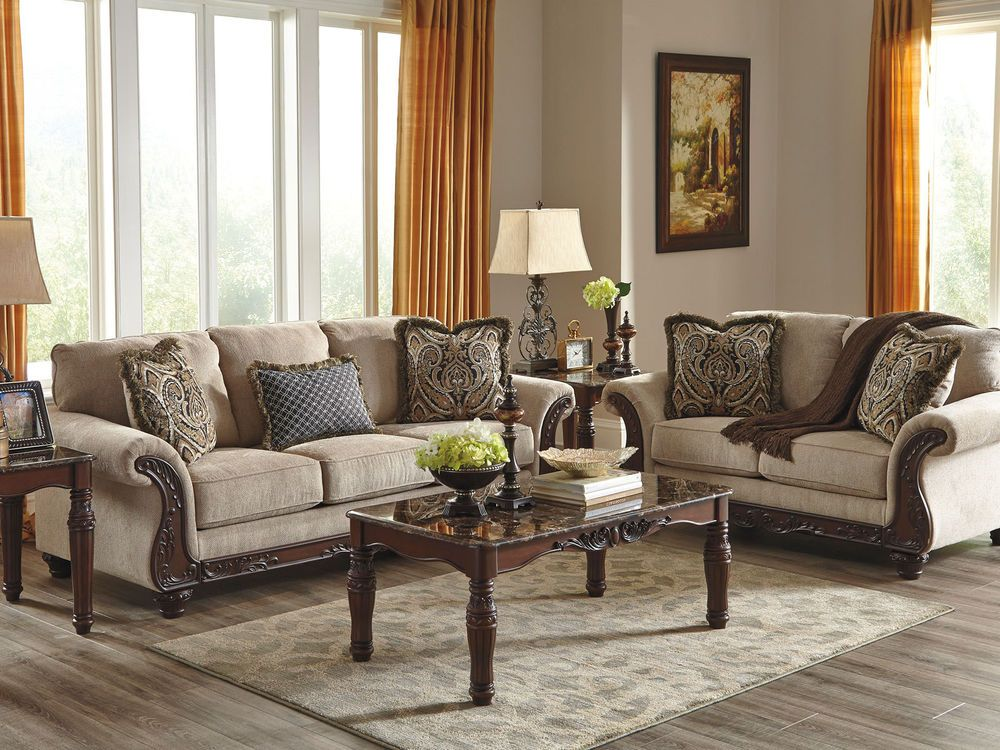 ROMEO-Traditional Wood Trim Gray Fabric Sofa Couch Set Living Room