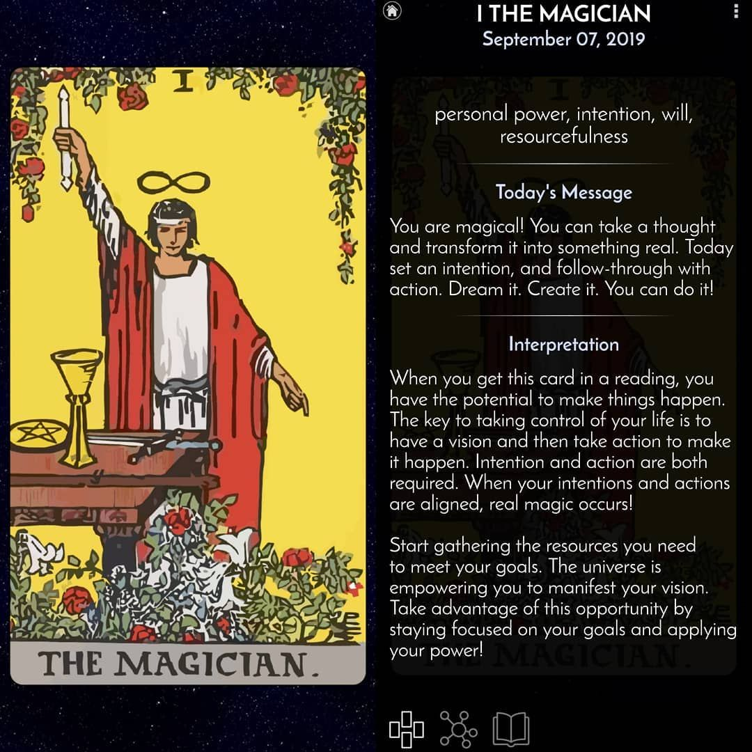 Tarot of the day  Card Type: major arcana  Suit:  Elements: air Number: 1 Planet: mercury Zodiac: Chakra: first third seventh Iching: hexagram 1 Color: yellow red white Crystal: garnet, quartz crystal, tiger's eye, citrine, agate  #tarot #love #tarotcards #psychic #spiritual #art #astrology #tarotreading #crystals #witch #tarotreadersofinstagram #tarotreader #meditation #witchesofinstagram #reiki #magic #a #spirituality #zodiac #divination #witchcraft #wicca #chakras #yoga #twinflame #amor #moon