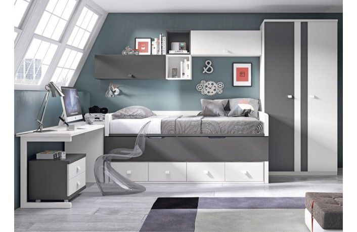 Dormitorio juvenil blanco y gris varios colores - Dormitorios infantiles blancos ...