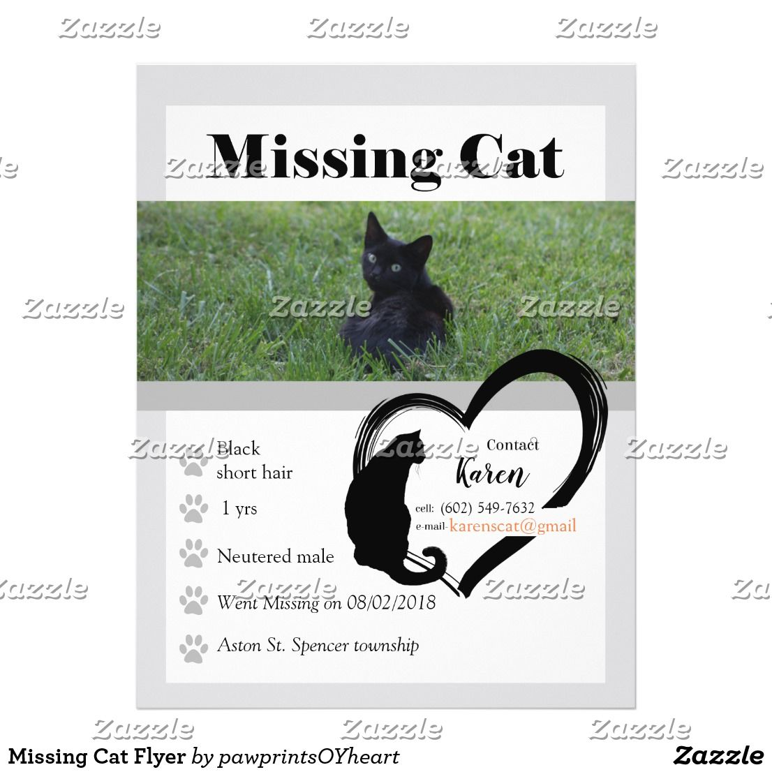 Missing Cat Flyer Custom Template Pet