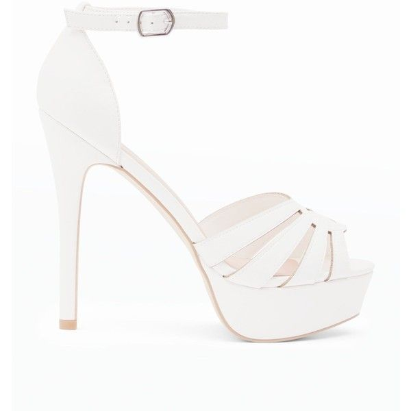 White Cut Out Strap Platform Stiletto Heels (572.205 IDR) ❤ liked on  Polyvore featuring shoes 5bab11c874a1